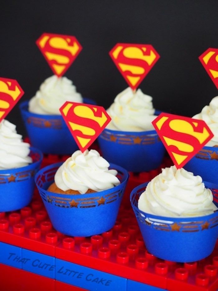 Superman cupcakes from Lego Superhero Birthday Party at Kara's Party Ideas. See more at karaspartyideas.com!