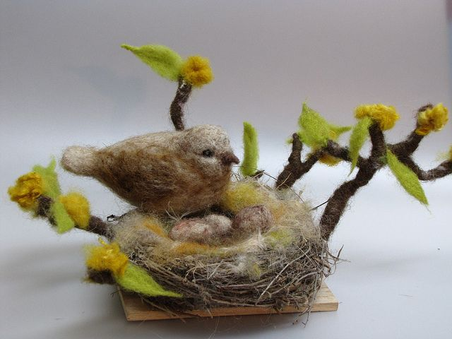 Sweet little bird in Nest by Ketti Ben Eli of Wooly Wishes, see her Etsy shop here: http://www.etsy.com/shop/ketti1234