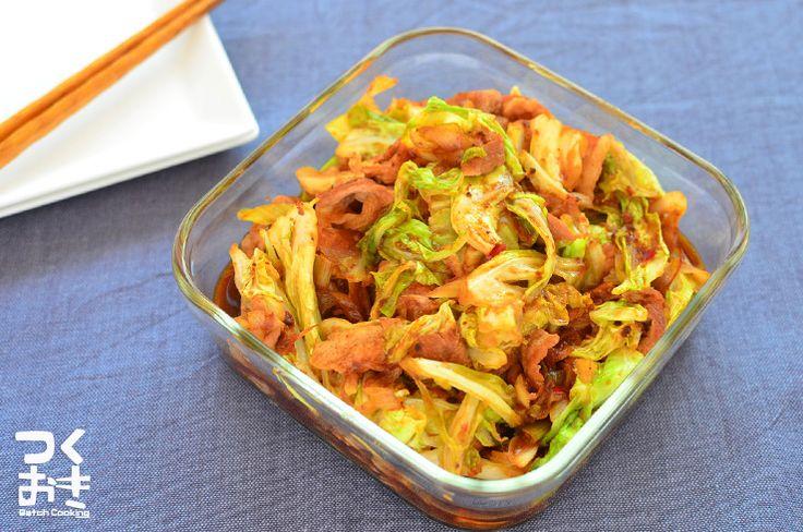 調味料を合わせておけば意外と簡単に作れるおかず。甜麺醤の代わりに赤味噌を使っています。仕上げ油が美味しいです。キャベツの消費にも役立ちますよ。