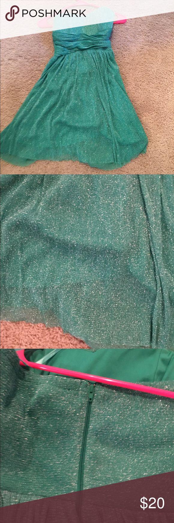 Green/teal sparkly strapless mini dress never worn Green/teal sparkly strapless mini dress never worn delias Dresses Strapless
