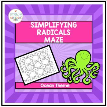 Algebra Simplifying Radicals Maze