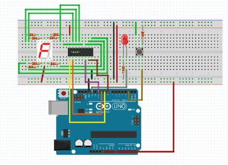 Controlando un display de 7 segmentos con Arduino y un botón por interrupción.