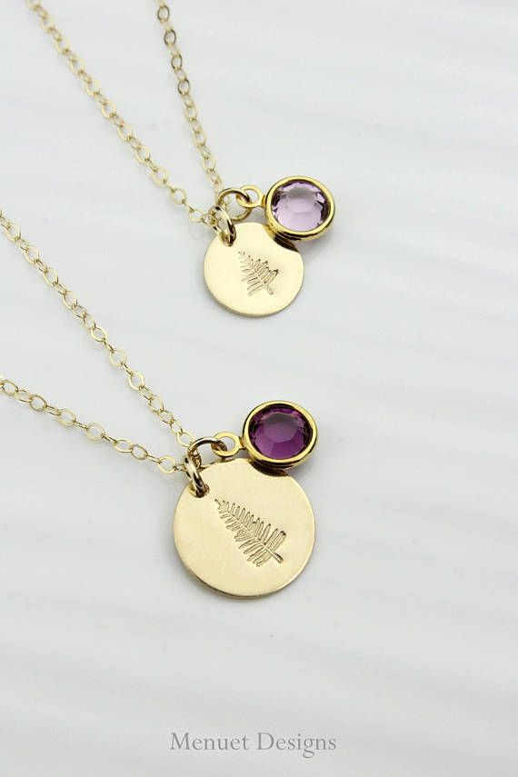 Mother-Daughter Necklace Set, Personalized Family Conifer Tree Disc Birthstone Necklace, Monogram Disc Pendant, Birthday or Valentines Gift