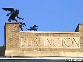 Winged Monkey statues on the Main street Landing Train Station, Burlington, Vermont