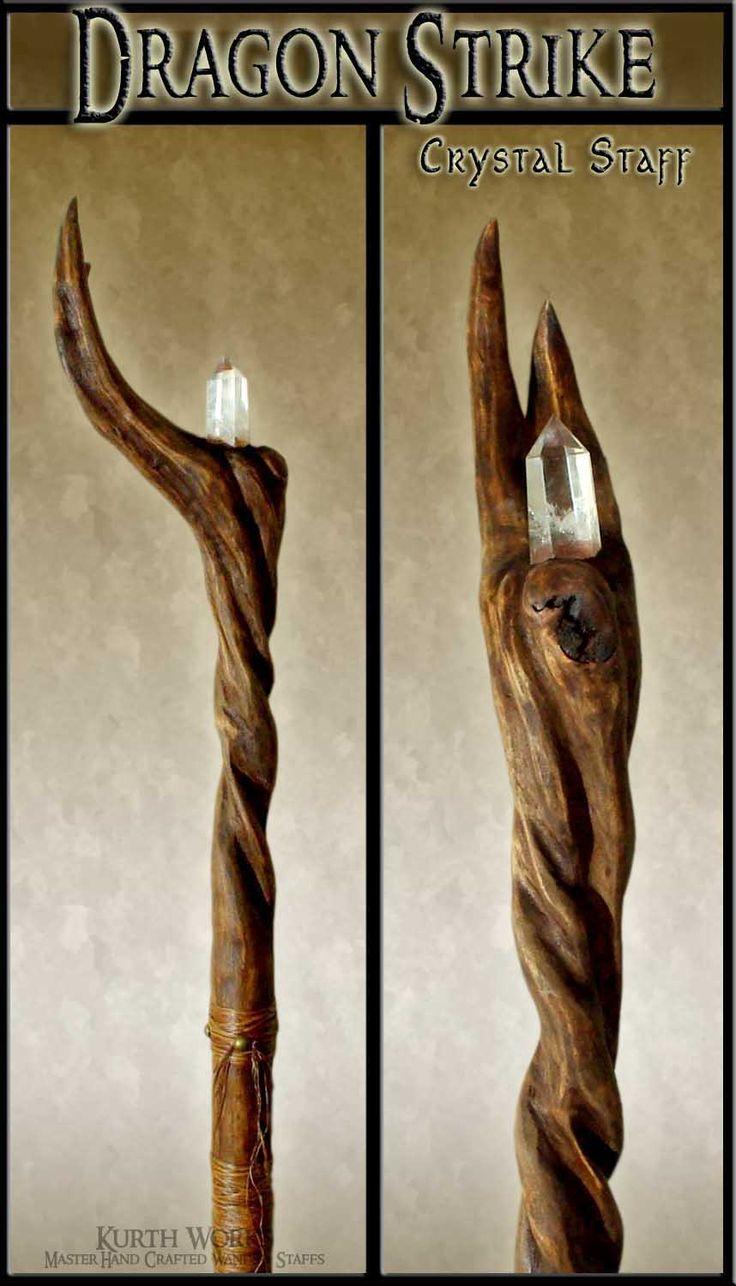 Wooden staff designs kurth works custom hand carved magic wizard wands - Kurth Works Custom Hand Carved Magic Wizard Wands And Staffs