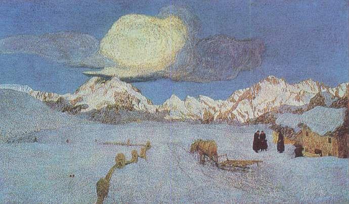 Giovanni Segantini: Vergehen, Leinwand. St. Moritz, Segantini- Museum
