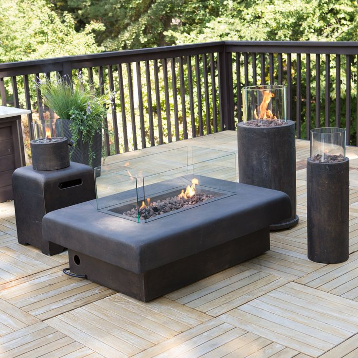 Palazetto Propane Fire Set - Chestnut - Propane Fire Pits at Hayneedle