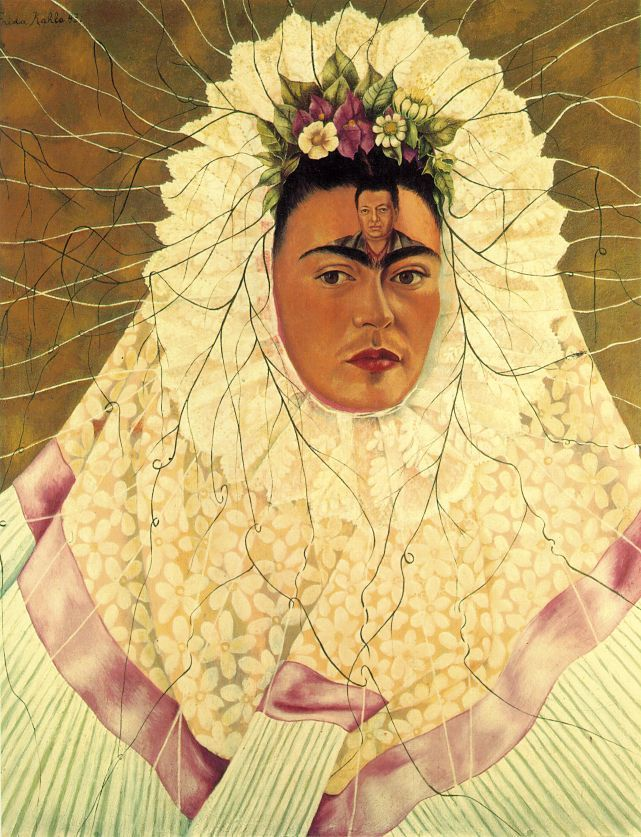 """Quisiera ser tu Diego, para que me lleves en la frente y en cada paso que das@ Self Portrait as a Tehuana Diego on My Mind 1943 Oil on Masonite photo"