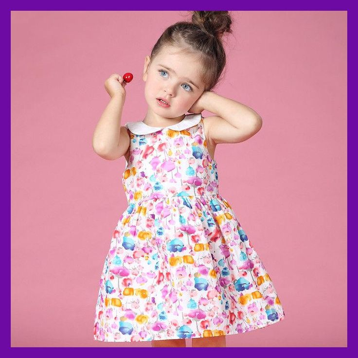 2016 Summer Baby Girl Peter Pan Collar Dresses for New Born Baby Clothes age 2 3 4 5 6 7 8T Years Old Baby Girls Frock Design