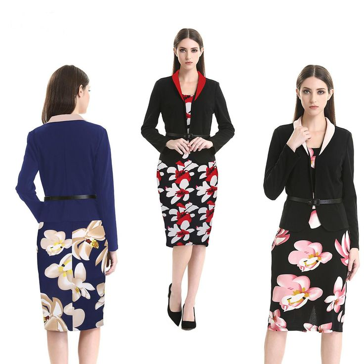 Two Pieces With Belt Women Office Work Dress Plus Size Vintage Casual Dresses Long Sleeve High