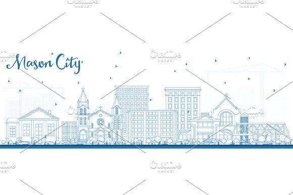 #Outline #Mason #City #Iowa #Skyline  by Igor Sorokin on @creativemarket