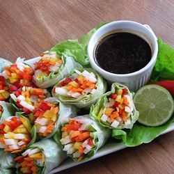 Vegetarian Spring Rolls with a Garlic Lime Hoisin Sauce from bakers royale
