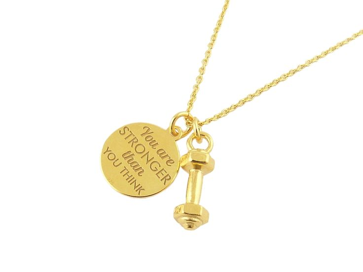 """Gold plated necklace dumbbell. Circle with the inscription: """"You are STRONGER than YOU THINK"""". Pozłacany naszyjnik MOTYWACJA #fit #necklace #dumbbell #motivation #Weightlifting"""