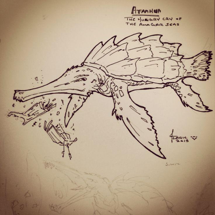 Ataahua, the hungry cry of the Amagar Seas. A kaiju for my Pathfinder game.