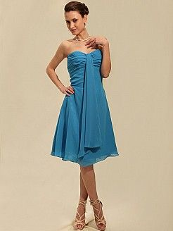 Flame - Trägerloser Ausschnitt Chiffon Kleid Brautjungfer - EUR 79,56€