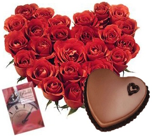 24 Red roses heart shape arrangement + 1kg heart shape chocolate cake + 1 Card