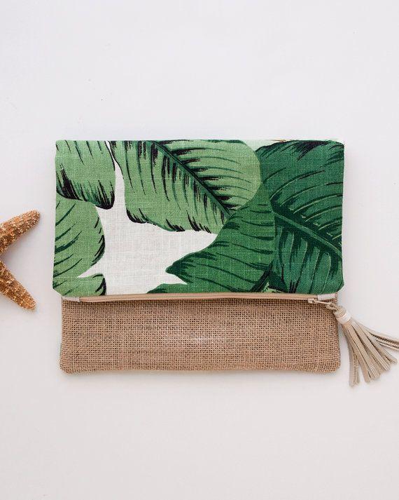Green Foldover Clutch Linen iPad Mini Cover Palm Trees Burlap