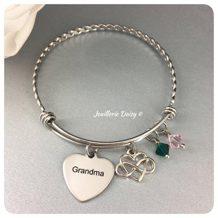 Gift for Grandma Bangle Bracelet The Love between a Grandma and Grandchildren is Forever Grandmother Birthday Gift Idea Charm Bracelet by dcjoaillerie on Etsy https://www.etsy.com/ca/listing/569383831/gift-for-grandma-bangle-bracelet-the