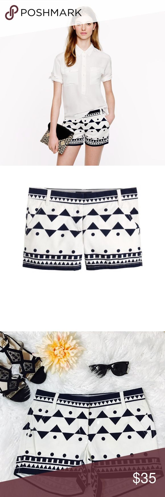 """J.Crew 3"""" chino short in Roller girl Our designers were inspired to create this graphic geometric print after uncovering a photo from the '70s of an effortlessly cool girl sporting a black-and-white-printed romper and roller skates. We loved the print so much that we sprinkled it throughout our collection, and each piece features a slightly different layout. Cotton. Sits just above hip. 3"""" inseam. Zip fly. Slant pockets, back welt pockets. Machine wash. Import. Laid flat across @ waist: 15""""…"""