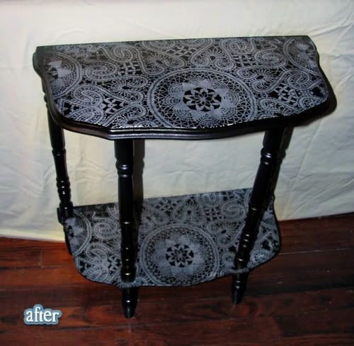 Doily spray painted table