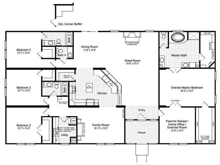 The Hacienda III   3012 Sq Ft Manufactured Home Floor Plans in Seminole,$mcStateDesc