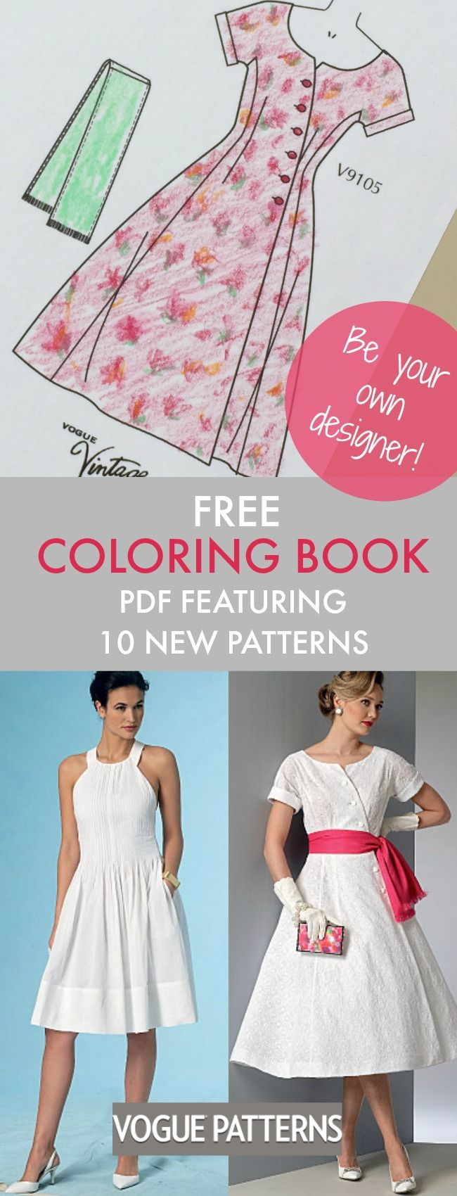"Download this free ""coloring book"" PDF featuring high-res line art illustrations of 10 patterns from the new Summer Vogue Patterns Collection. Use this to plan, color and doodle your sewing ideas. Have fun!"