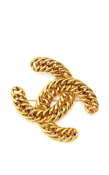 Vintage Chanel Gold Chain CC Brooch From What Goes Around Comes Around by Vintage Chanel from What Goes Around Comes Around for Preorder on Moda Operandi