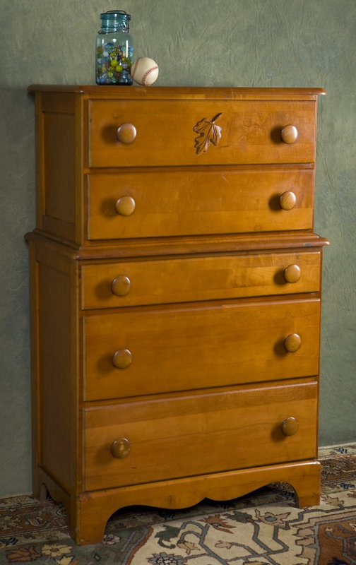 1950s Cherry Dresser w/Carved Maple Leaf: very similar to one I have and want to paint. Not sure how to update this one...