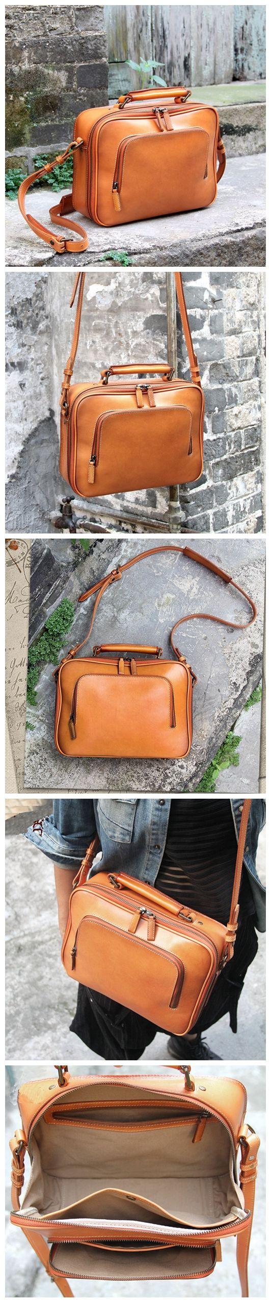 Handcrafted Vintage Vegetable Tanned Leather Messenger Women's Fashion Bag Handbag Leather Shoulder Bag Casual Satchel 14089 Overview: Design: Vintage Vegetable Tanned Leather Messenger In Stock: 4-5