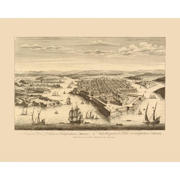 The Grand Harbour of Malta - Antique Veduta, 1794.  #map, #antiquemap, #vintagemap, #oldmap #historicalmap, #mapreproduction #mapreproductions #oldmaps, #vintagemaps, #antiquemaps, #historicalmaps #handmadepaper #maps, #malta, #valletta, #cityofmalta, #grandharbour, #mapdecor, #traveldecor #walldecor, #mapgifts