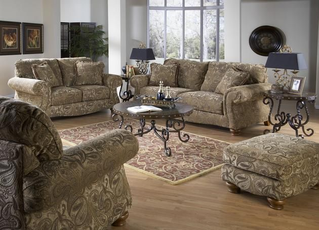 Chenille Sofa, Loveseat, Chair and Ottoman