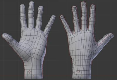 3d anime hand topology
