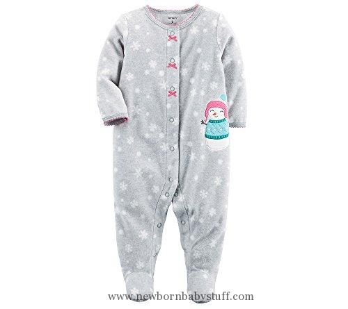 Baby Girl Clothes Carter's Baby Girls' Snowman Snap Up Fleece Sleep And Play 9 Months