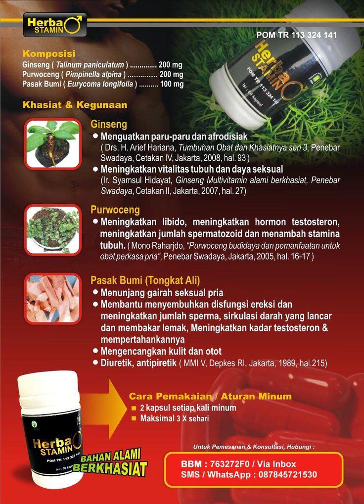 PENAMBAH STAMINA PRIA ALAMI Herbastamin diramu dengan komposisi dan kombinasi yang tepat berbahan alami yang berkhasiat sebagai penambah vitalitas dan stamina pria. Komposisi Herbastamin Gingseng ( Talinum panicalutum ) ………….200mg Purwoceng ( Pimpinella alpina ) …………….200mg Pasak Bumi ( Eurycoma longifolia ) …………100mg
