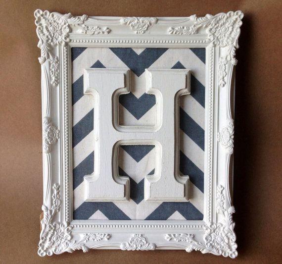 Baroque Frames Letter Art Monogram Ornate Chevron Grey