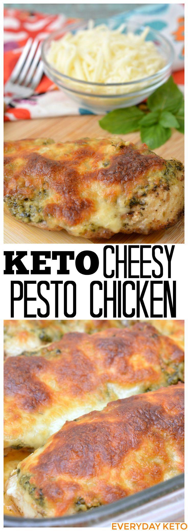 Keto Friendly Cheesy Pesto Chicken