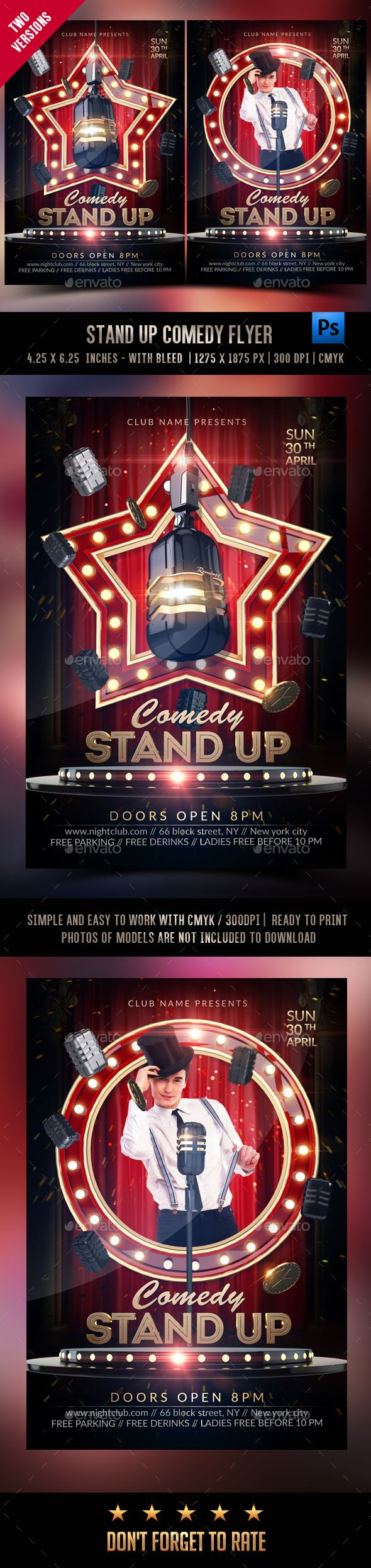 Stand Up Comedy Show Template — Photoshop PSD #comedian #event • Download ➝ https://graphicriver.net/item/stand-up-comedy-show-template/19759016?ref=pxcr