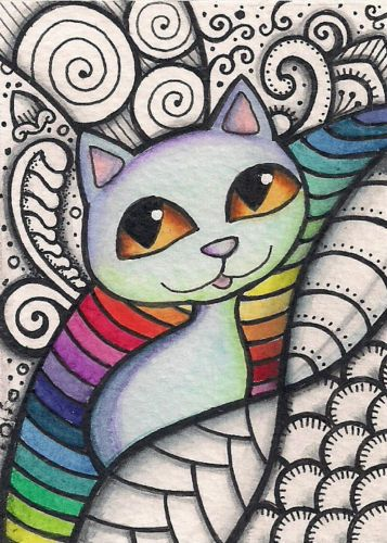 ACEO-Blue-Cat-in-Zentangle-Inspired-Design-Original-Art --- Winning bid: US $79.79 Approximately AU $103.07