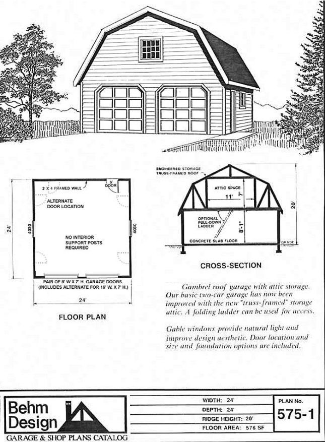Gambrel Roof Attic Garage Plans 575 1 24 X 24 By Behm Garage Building Plans Garage Plans Gambrel Roof