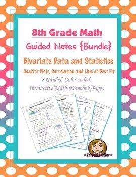 This is bundle of (8) guided, color-coded notebook pages for the interactive math notebook on Bivarate Data, Scatter Plots, and the Line of Best Fit.