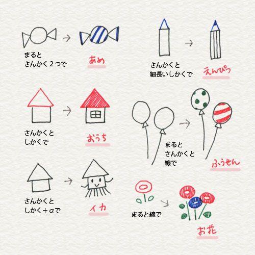2-1. かんたんな形をモチーフに | 4色ボールペンで!かわいいイラスト描けるかな