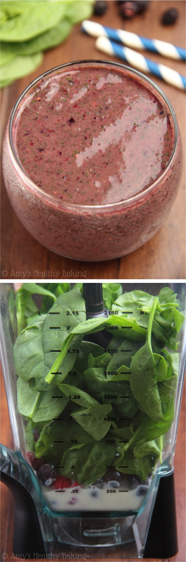 Mixed Berry Green Smoothie -- healthy & rejuvenating! Only 3 ingredients & 145 calories!