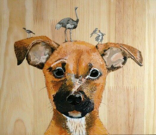 Tu sencillez me dejó en silencio, tu ingenuidad me hizo reír... Entendí que es mejor tener pájaros en la cabeza, que piedras en los zapatos.  #art #illustration  #dog #bird #collage #wood #paint #bytallersancho #expedicionesalreinoanimal