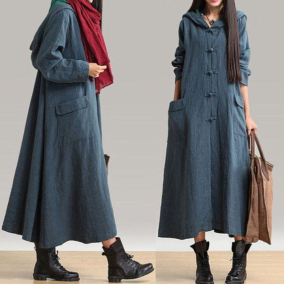 women loose dress linen dress long sleeve dress by customsize, $89.00
