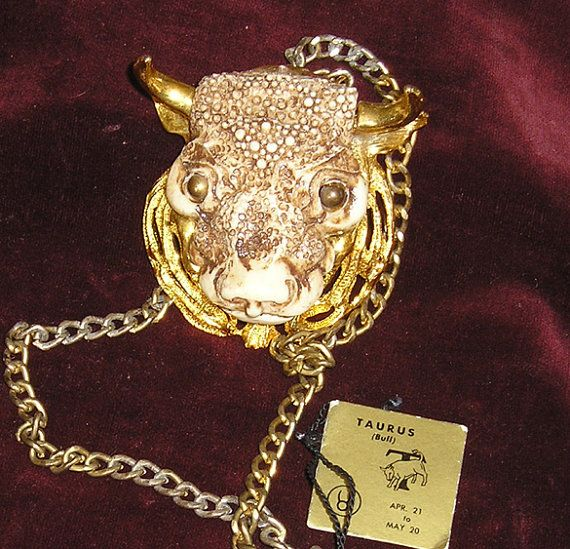 Razza Taurus Bull Zodiac Pendant with Tag by peaceloveantiques, $45.00