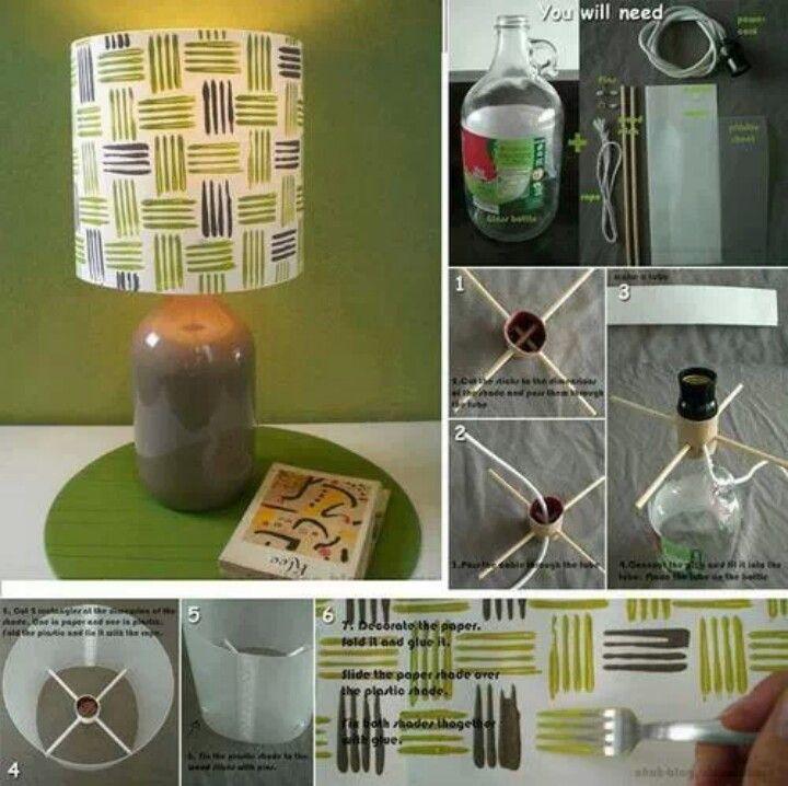 Las 25 mejores ideas sobre pantallas de l mparas caseras - Lamparas de mesa recicladas ...