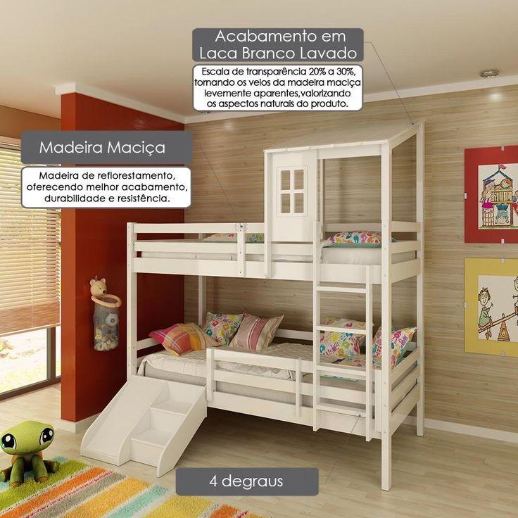 Beliche infantil Teen Play com Grade de Proteção Dupla, Telhadinho II e Mini Escada com escorregador - Casatema -Móveis e Decoração - Camas - Walmart.com