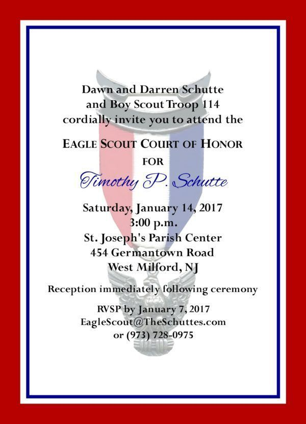 Simple Honors Red Border Eagle Scout Invitation Eagle Scout Ceremony Eagle Scout Eagle Scout Gifts