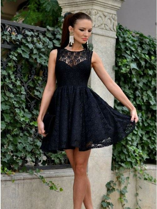 e64f039d120 A-Line Jewel Above-Knee Sleeveless Black Lace Zipper Homecoming Dress