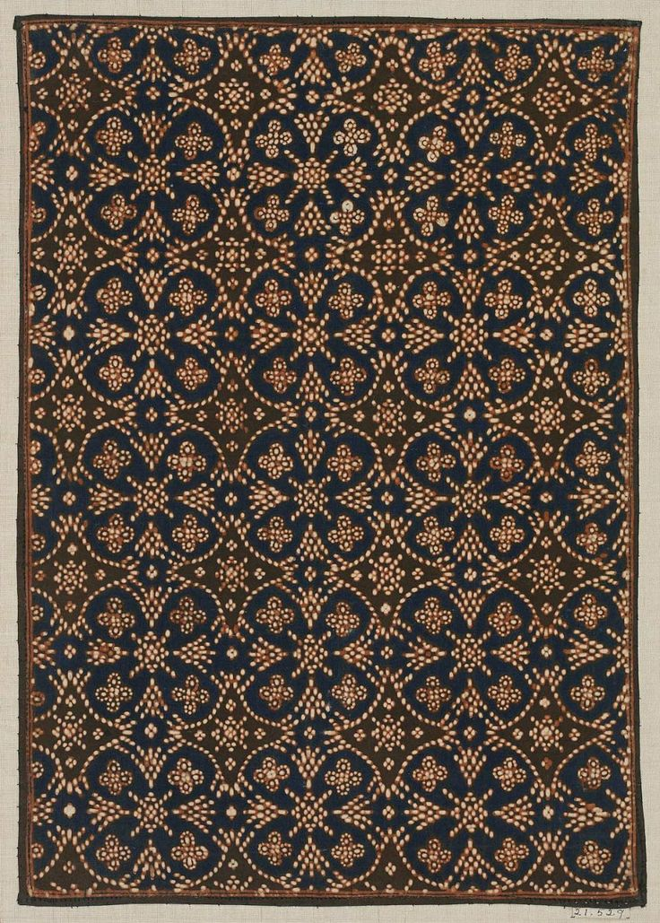 Batik sample Indonesian (Javanese), Dutch colonial rule, late 19th century